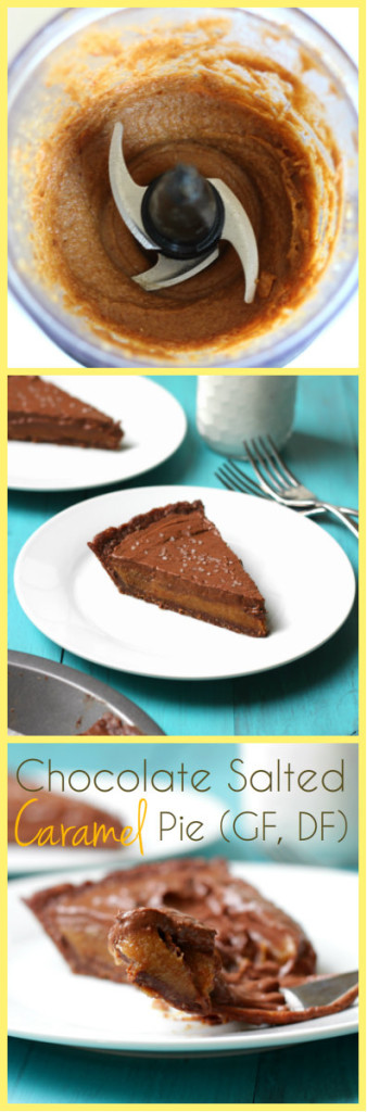 For all you salted caramel lovers: No Bake Chocolate Salted Caramel Pie: GF, DF, Vegan, refined sugar free - rich, creamy, salty, sweet and HEALTHY! Click through to get recipe.