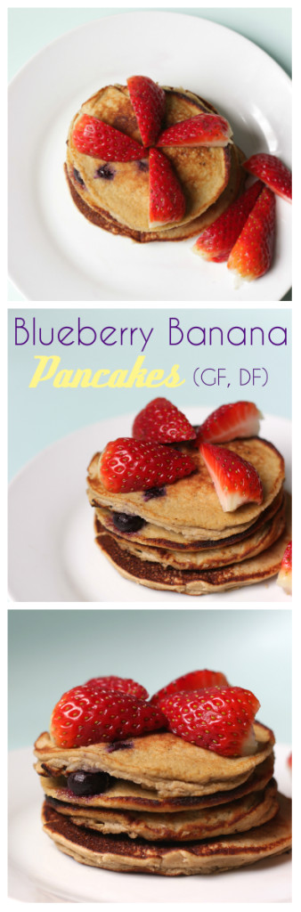 Perfect for when you are craving a sweet wholesome breakfast. These quick blueberry banana pancakes are your healthy go to. These fluffy pancakes are quick to whiz up, and are nutritious and filling. They are naturally gluten and dairy free and can also be made nut free. Only 5 ingredients! Click through for recipe. www.isleofflora.com